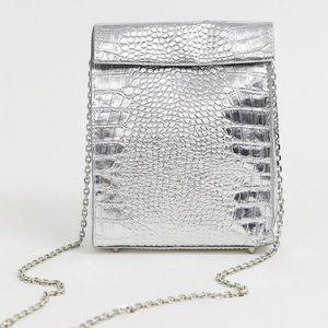 ZARA silver croc crossbody bag clear mini